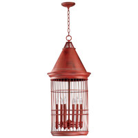 Conical Red Bird Cage 6 Light Entryway Chandelier