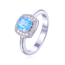 SJSAAR01 Wholesale 925 Sterling Silver Blue Big Stone Bling Cubic Zirconia White Gold Plating Square Classic Ring for Women