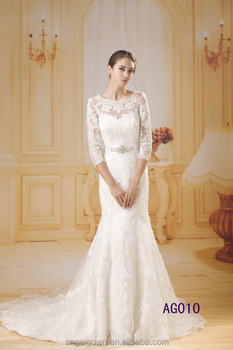 2016 guangzhou fashion long sleeves mermaid fishtail beaded lace wedding dresses