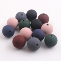 New Fashion 20mm 100pcs Round Acrylic Rubber Beads for Kids Baby Girls Necklace Jewelry Making