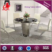 Hot sale stainless steel dining table with leather chairs
