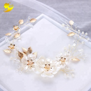 Hot sale white crystal flower headband wholesale wedding party women hair accessories