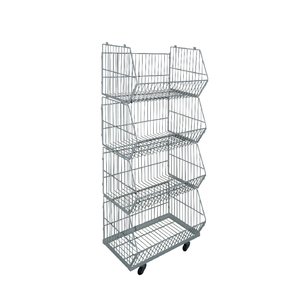 Powder coating wire container mesh pallet storage cage for supermarket