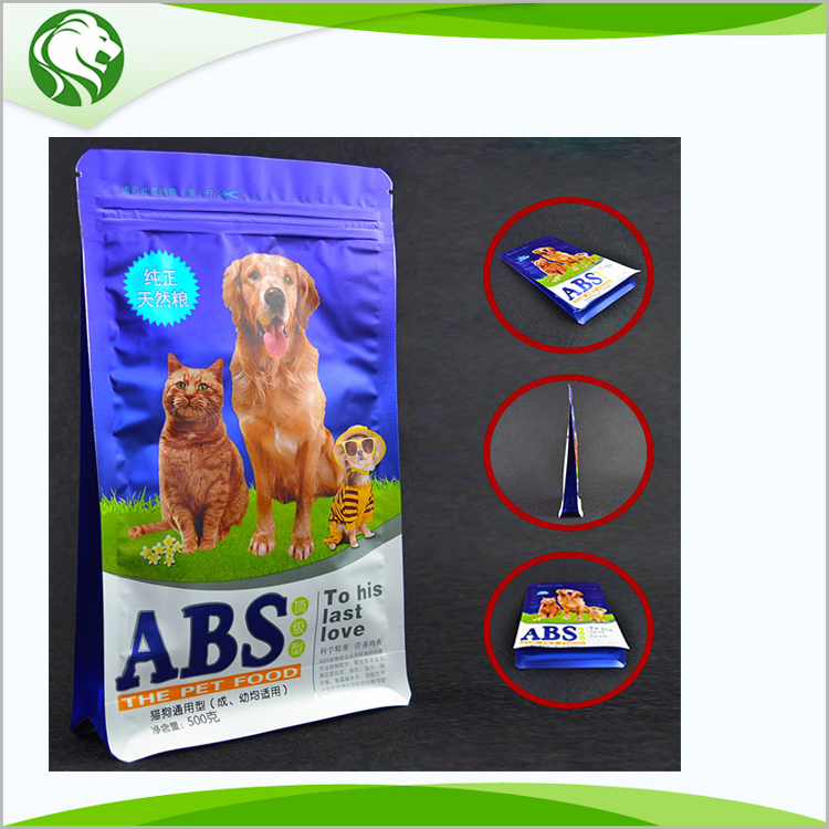 custom design plastic stand up flat bottom side gusset pet food bag with zipper