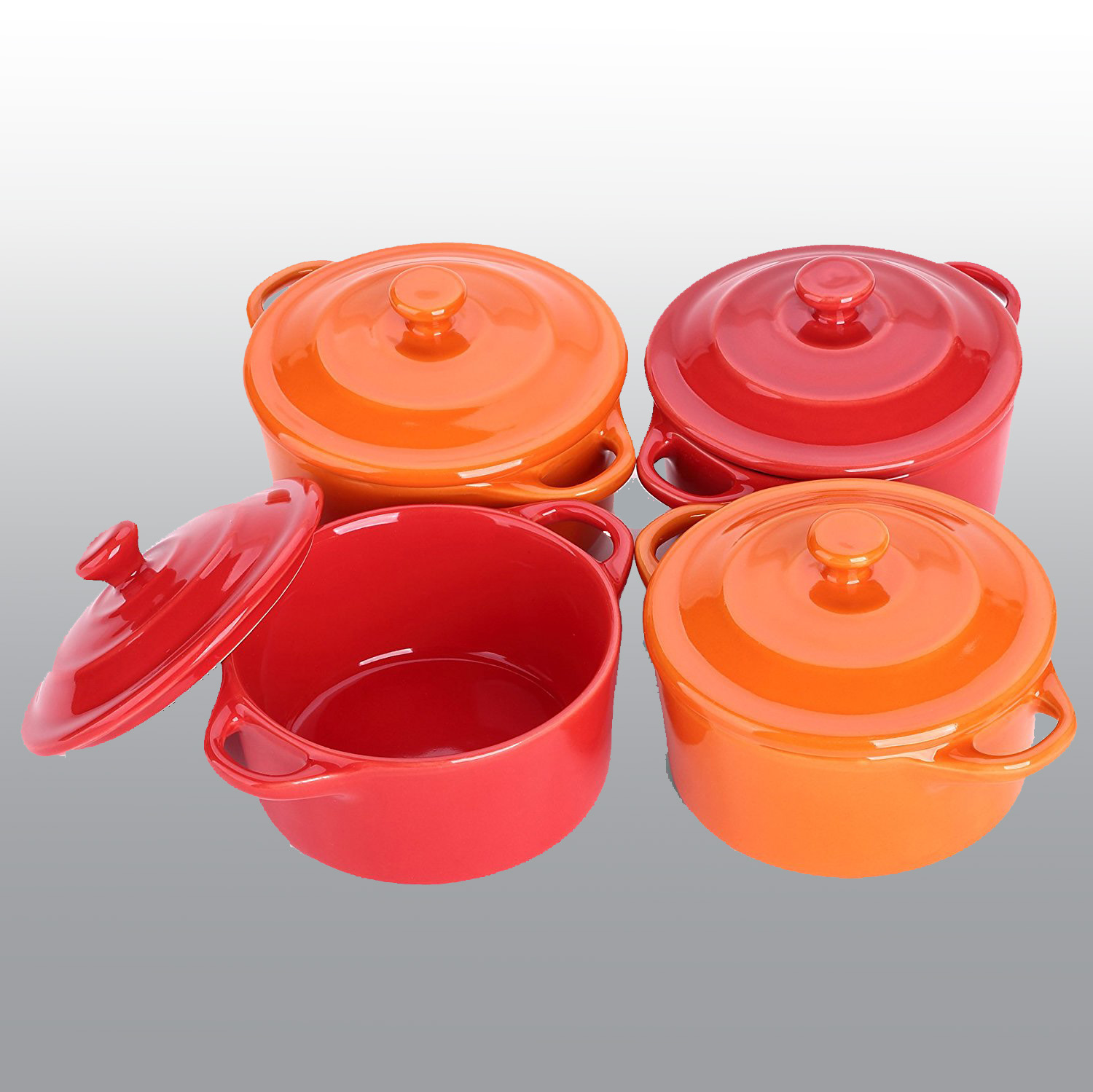 Colorful Stoneware Mini Casserole Pots With Lids - Set of 4,Assorted