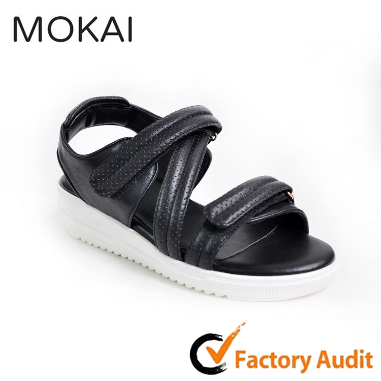 MK156-1 BLACK 2016 new design china factory wholesale flat women sandals
