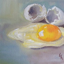 Lying on the table one and a half cooked egg yolk proteins and pale yellow transparent oil painting in canvas