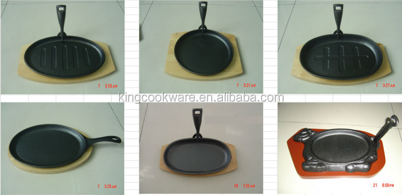 cast iron steak pan wooden tray sizzling pan