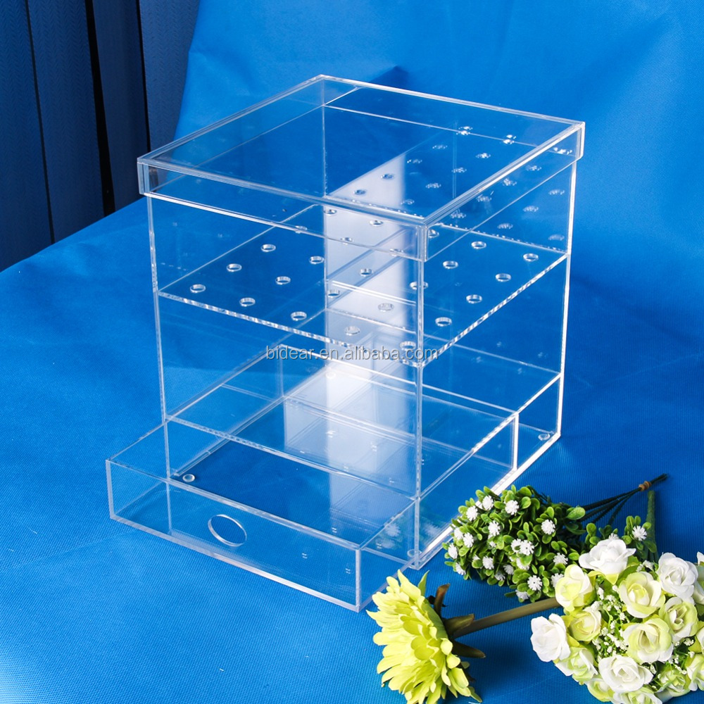 luxury clear square acrylic flower box for rose and chocolate