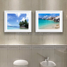 British hot sale hotel shower room wall hanging pine wood picture frame