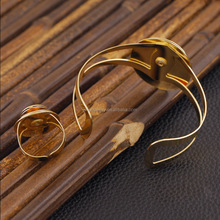 Factory fashion jewelry sets for woman gold plated bangle and ring sets Mother's day bracelet