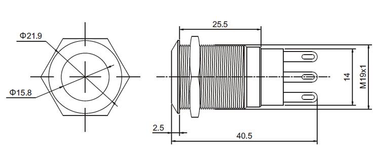 19mm ip67 1no1nc illuminated led momentary metal push