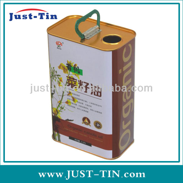 2.5 Litre cost effective metal printing rectangular metal oliver oil oiler / oil can