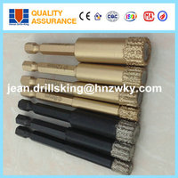 Best selling 8mm 10mm 12mm hexangular shank brazed diamond core drill bit for ceramic tiles & marble