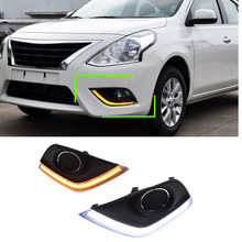 LED Daytime Running Light DRL With Turning Signal Front Bumper Fog Lamp For America Nissan Versa 2014 2015 2016