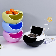 Lazy man kids convenient plastic utility fruit snack box with phone holder for watch tv family use