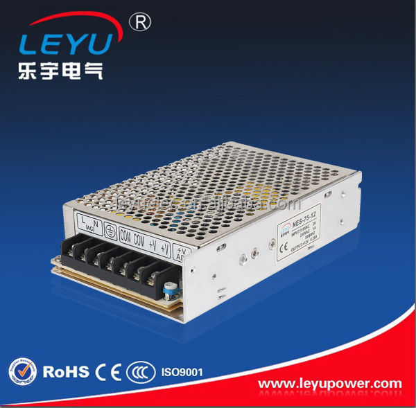 universal AC input 12VDC output 6A power transformer 75W 12V regulated power supply for led strip