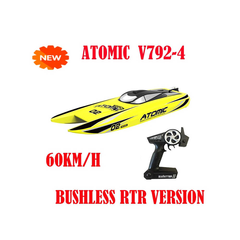 NEW Popuar ATOMIC V792-4 YELLOW Rc Speed Boat 2.4G Radio Control