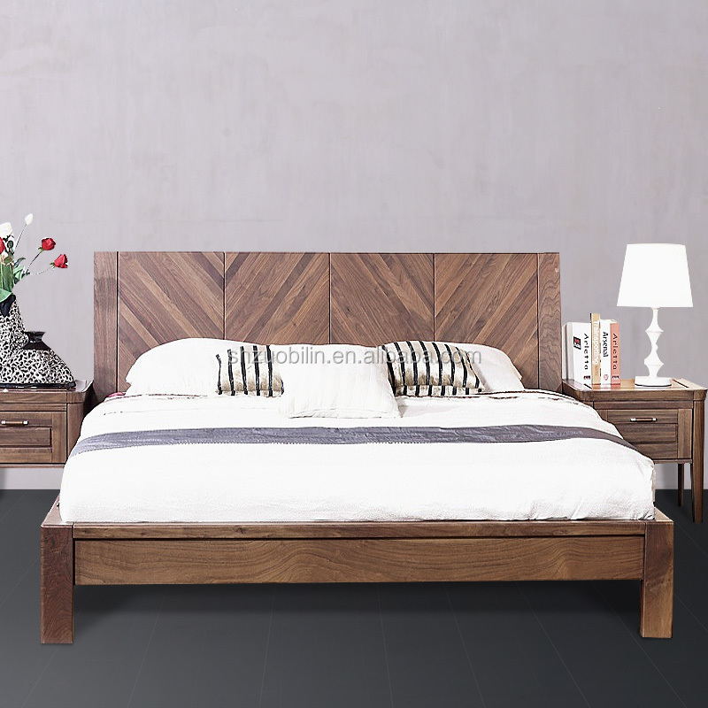 Simple and Comfortable Walnut Wood Bed Room Furniture
