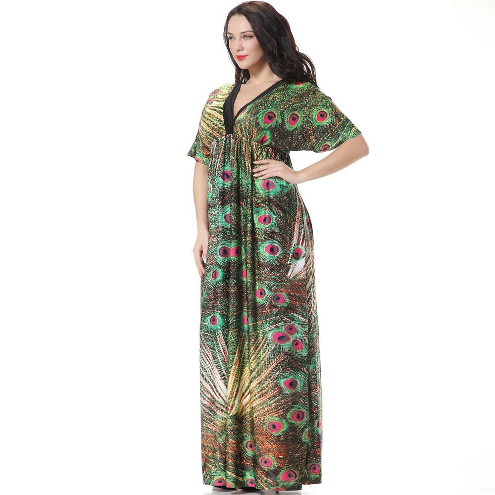 neue 2016 bohemian print peacock blume frauen sommer kleid. Black Bedroom Furniture Sets. Home Design Ideas