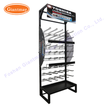 Retail store floor standing metal hanging hook rack battery display stand