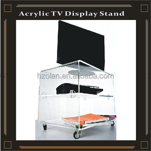 room furniture free standing cheap clear acrylic table transparent TV stand