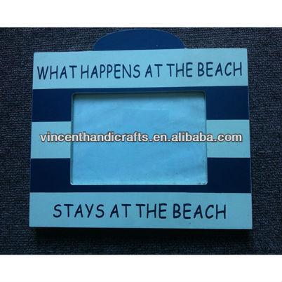 Beach souvenirs wooden blue and white strip photo frame for trip memory