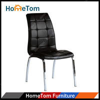 Wholesale PU Leather Chrome Metal Frame Black Dining Chair