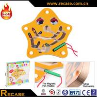 Custom Children's Magnetic Maze Board Toy Magnetic Labyrinth Fun Games Wooden Starfish Puzzle Board Toys