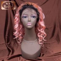 Popular ombre color 1b pink human hair wigs dark root Brazilian loose wave Aliexpress hair full lace wig