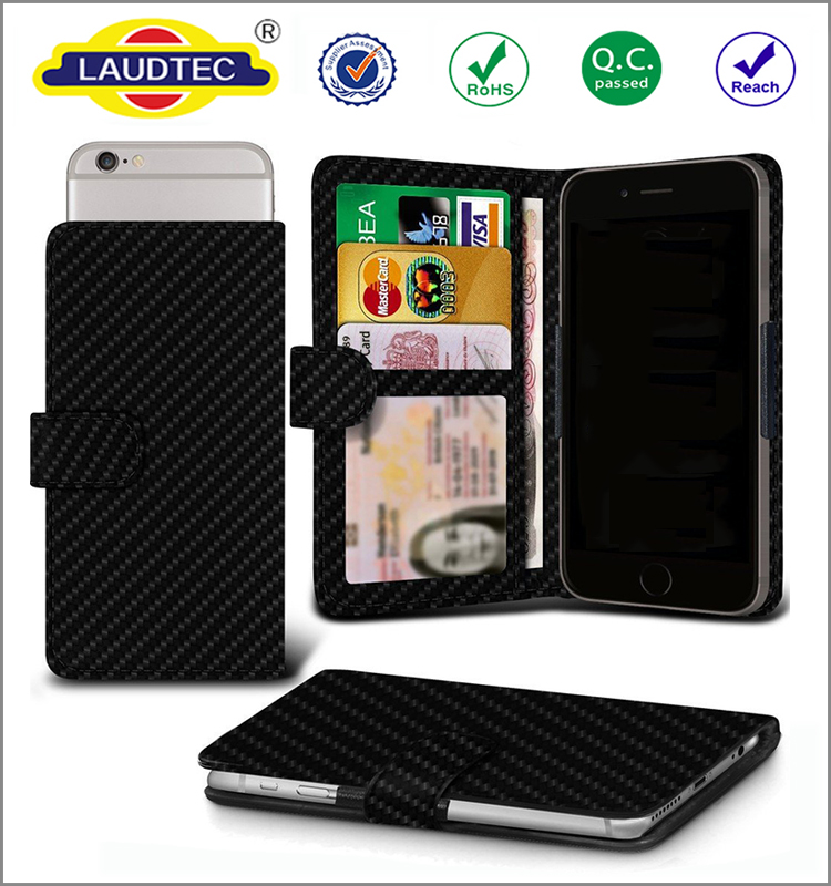 Universal Carbon Fibre leather adjustable spring wallet ID card holder cover case for iPhone 5/6/6+