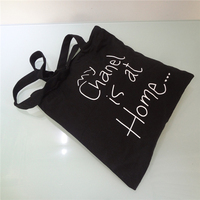 Eco-friendly recycled custom printing black cotton shopping bag