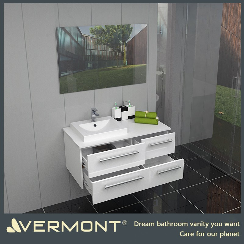 2017 Bathroom furniture set high gloss white lacquer bathroom vanity