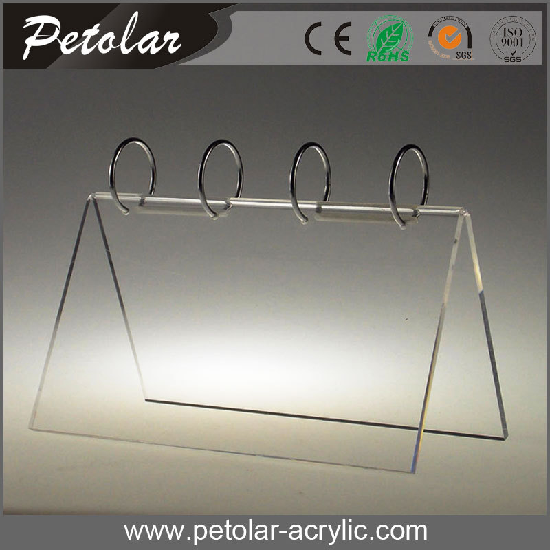 metal ring clear acrylic desk calendar stand
