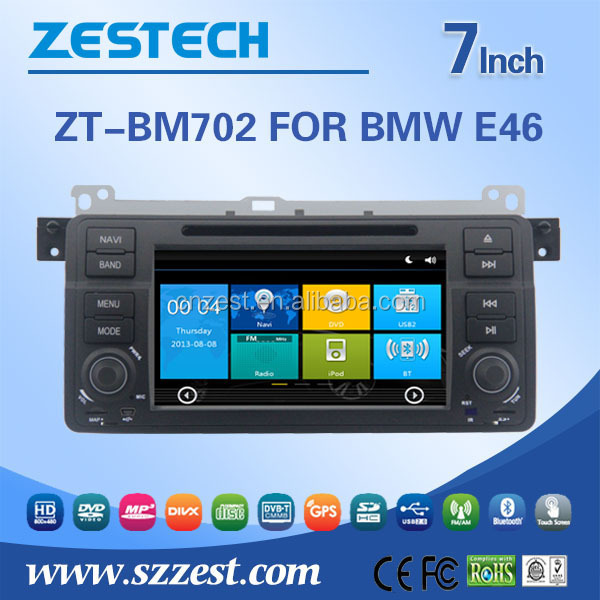 ZESTECH Car Multimedia For BMW E46 car audio mp3 usb player with map game, support Ipod, gps Am/Fm BT, DVD, USB/SD, AUX A/V