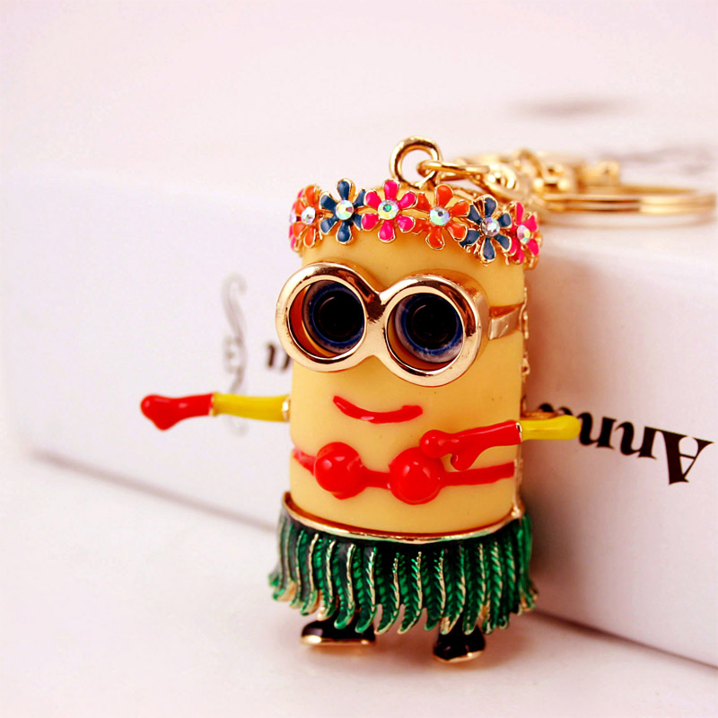 Hot sale Fashion Women Crystal Rhinestone Dancing Minions Keychain With High Quality Luxury Keyring SK2736