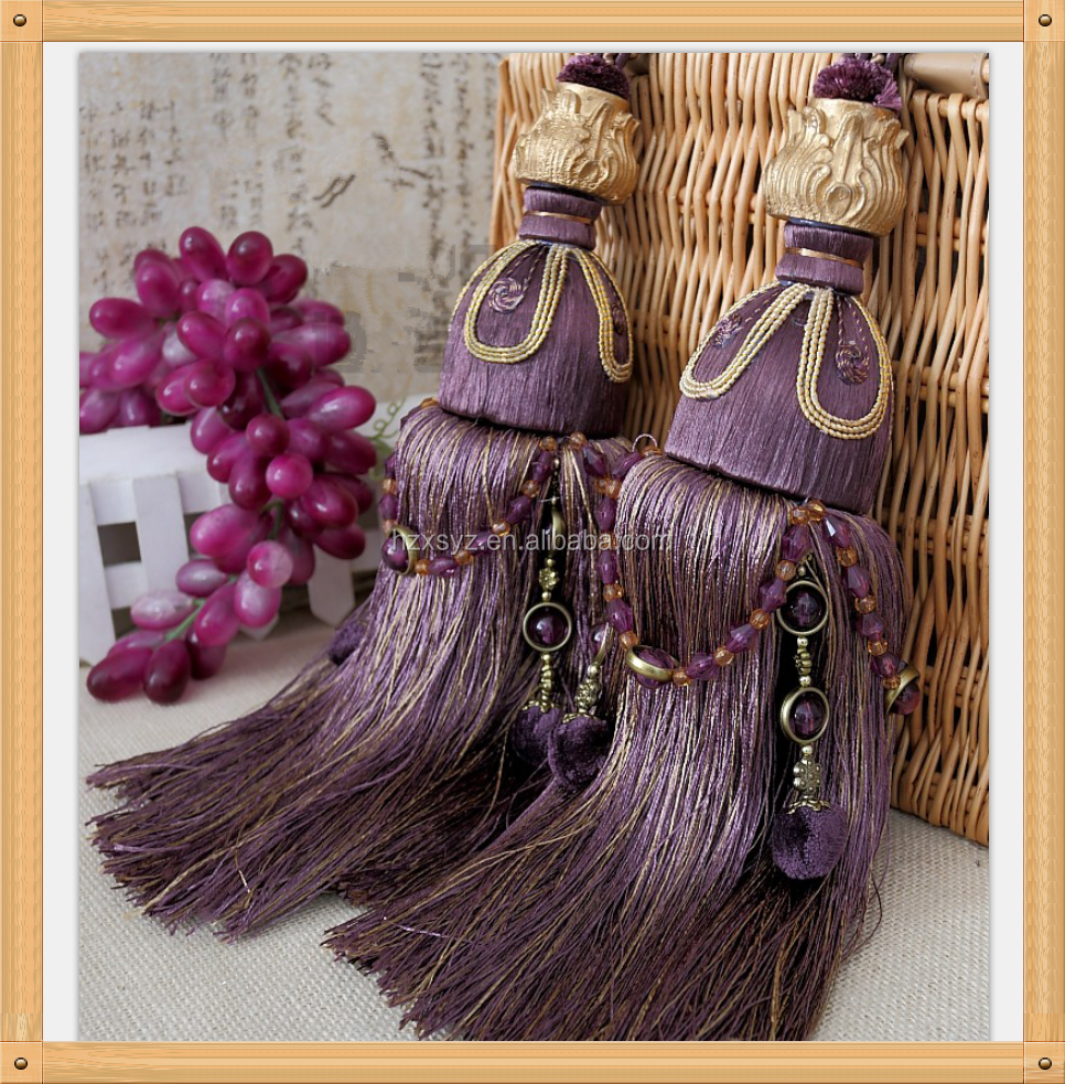 fancy curtain accessories tassel fringe , purple curtain tassel tiebacks