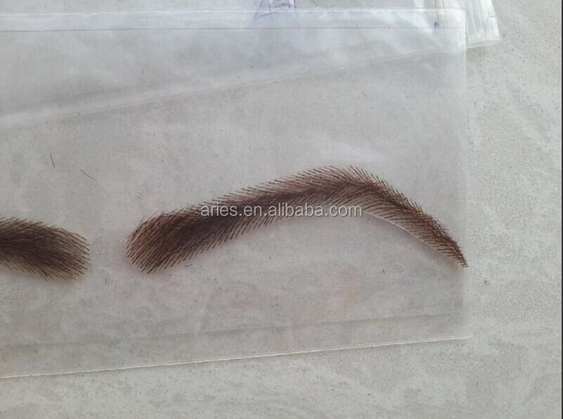 man style 1 pair false eyebrows fake eyebrow sticker 100% human hair hand made nautre looking black eyelash extension
