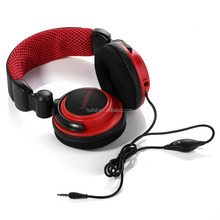 Wired stereo gaming headphone with detachable mic foldable overhead heaband big headset tablet PC earphone