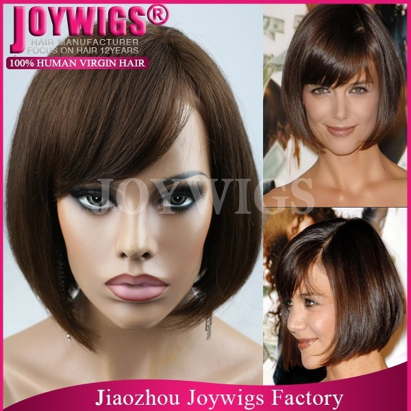 Wholesale Fashion Human Hair 1b/Burgundy Ashanti Side Part Lace Front Wig