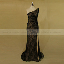 Gentle One Shoulder Black Lace Evening Dress High Silt Well Fitting