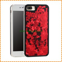 Luxury Love Sequins Liquid Glitter Quicksand black back cover Phone Case For iPhone 7
