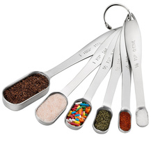 High Quality 6pcs Set Narrow Stainless Steel Spice Measuring Spoons
