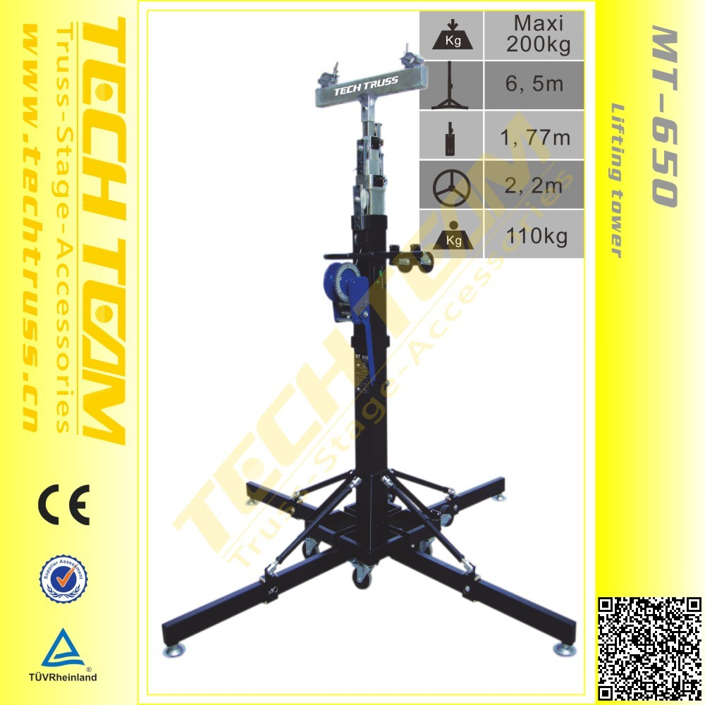 Multi-fuction 6.5m height 200kg Loading speaker lift stage truss lifter tower ground support light t-bar stand