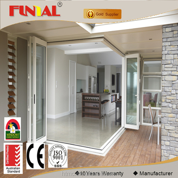 China supplier double glazed folding door with AS2047 certification