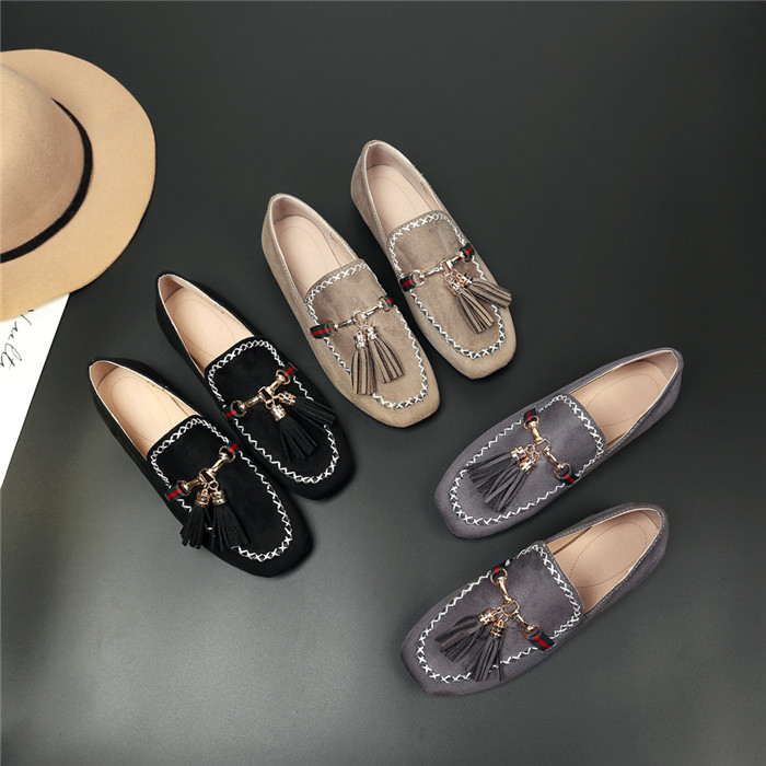 Women's Casual Tassel Suede Leather Loafers Outdoor Indoor Flats Slippers