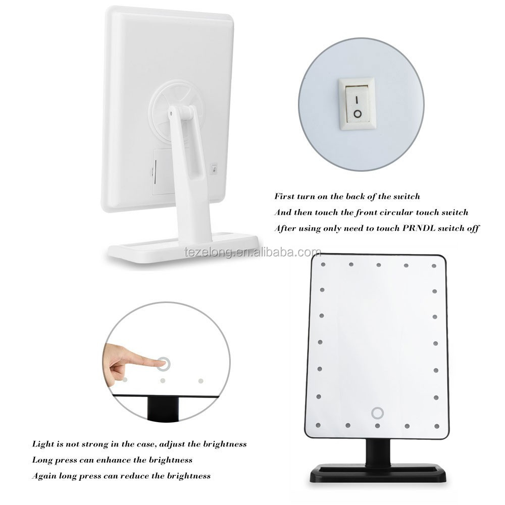adjustable vanity tabletop lamp 21 leds lighted led touch screen mirror makeup portable mirror 360 degree rotating