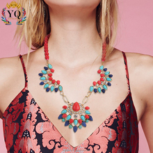 NYQ-00046 2016 latest design natural bright-colored acrylic/ turquiose beaded statement necklace