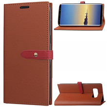 Long Buttons Stand Leather Wallet Flip Cover Case For Samsung Galaxy Note 8 With Card Slots
