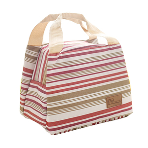 Waterproof color printed stripe small thermal fitness cooler lunch bag